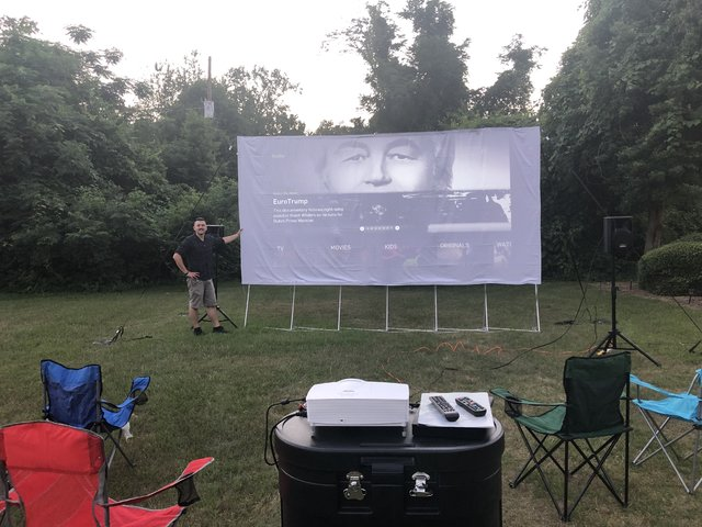 16' Projection Screen with HD Optoma 1080p Projector, Sound System & Blu-Ray Player (WiFi)
