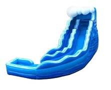 19ft Blue Curvy Wave w/inflated landing