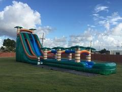 27 Foot Tropical Slide + Slip-N-Slide & inflated landing
