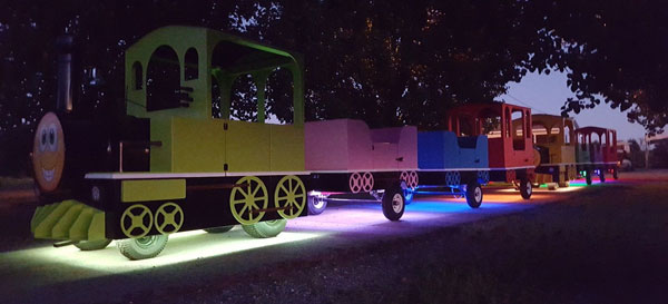 Trackless Train at Night