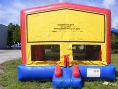 Premium Yellow Blue Red Bounce House with hoop