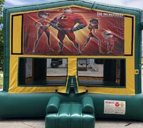 Premium Green N Yellow Bounce House W/Hoop