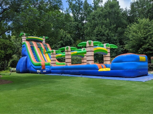 24' TROPICAL DUAL LANE SLIDE W/ SLIP AND SLIDE