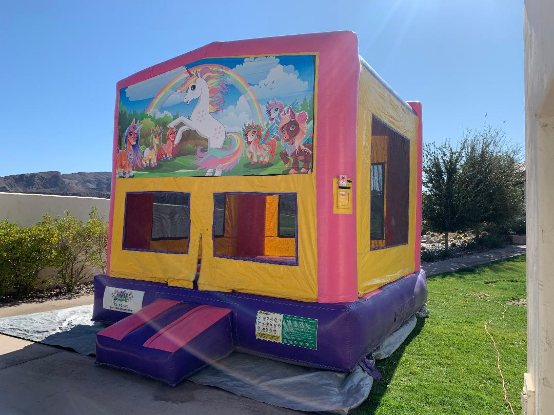 unicorn theme bounce house las vegas inflatable jumper rental