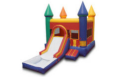 Backyard Castle Jump and Slide Wet