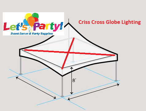 20x20 Tent Lighting - Criss Cross