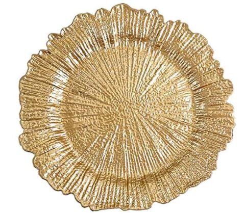 Gold Round Reef Charger Plate - Rental