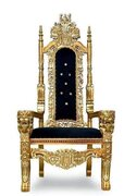 Black w/Gold Trim Throne Chair