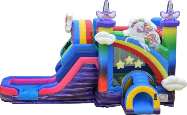 Unicorn Bounce House with Wet Slide
