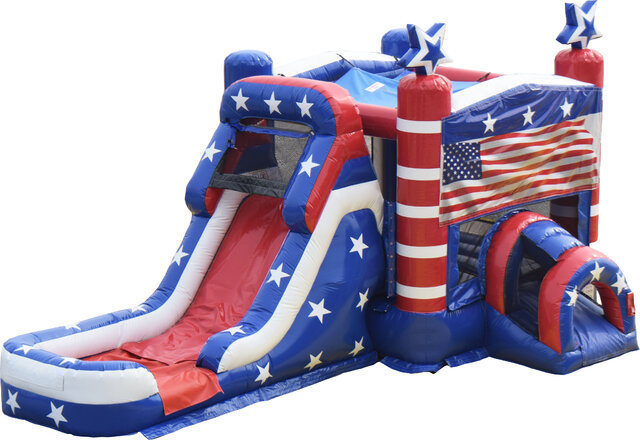Old Glory USA Bounce House with Wet Slide Combo