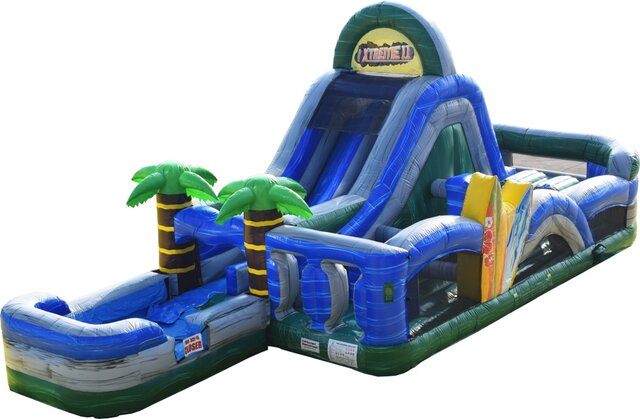 Blue Tropical Water Slide Obstacle Course