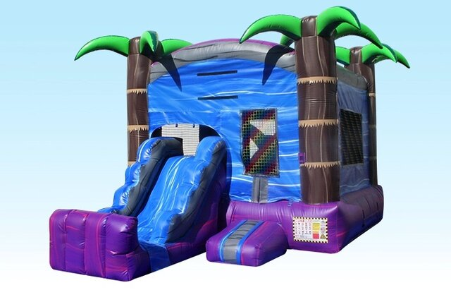 Blue Island Bounce House with Water Slide