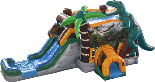 Jurassic Dinosaur Bounce House with Wet Slide Combo