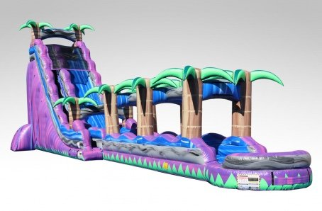 27' Purple Crush Dual Lane Water slide with Pool and Slip and Slide