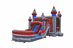 Titanium Bounce House with Dual Lane Water Slide and basketball hoop