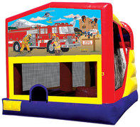 4-1 Firemen Bounce House Slide Combo