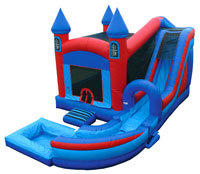 Castle Bounce House Water Slide with basketball hoop and pool