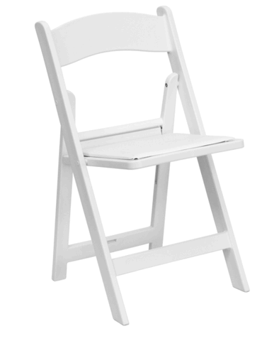White Folding Chair W/Padded Seat