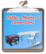 Tables, Chairs, and Generators