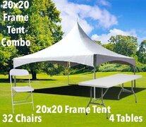 20x20 Frame Tent, Table, and Chair Combo
