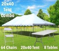 20x40 Pole Tent, Table, and Chair Combo