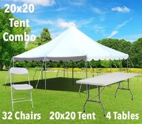 20x20 Pole Tent, Table, and Chair Combo