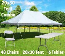 20x30 Pole Tent, Table, and Chair Combo