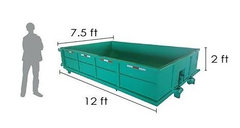 <b><font color=red><b>7 Cubic Yard Dumpster</font><br><small>$265 1 - 4 Day Rental<br> <font color=green>Space Needed 7.5W x 12L x 2H</font></b></small>