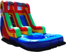 <font color=red><b>[18 ft] Single Lane Water Slide<br></font><small>Best For Ages 2+<font color=maroon> | 1 Outlet Needed</font><br><font color=blue>Actual Size 24 L  x 12 W x 18 H</font></small>