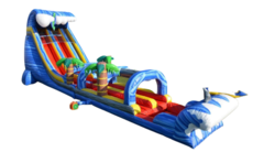 24 FT Dual Lane Shark Attack Slide with 32 FT Long Slip and Slide & Pool *Coming May 2021*