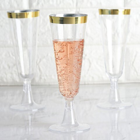 Disposable Plastic Flutes - 12 units Gold