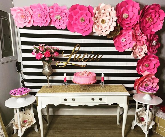 Decor Package- Paper Flowers/ console table