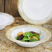 Disposable Plastic Round Bowls - 10 units Gold