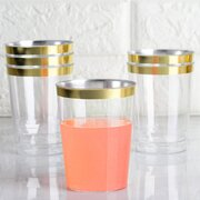 Disposable Plastic Cups - 25  units Gold