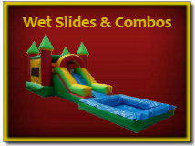 Wet Slides and Combos - Wet Combo Bounce Houses with Slides, Pools and Goals