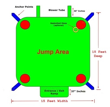 15x15 The Big House 2 Bounce House Schematic
