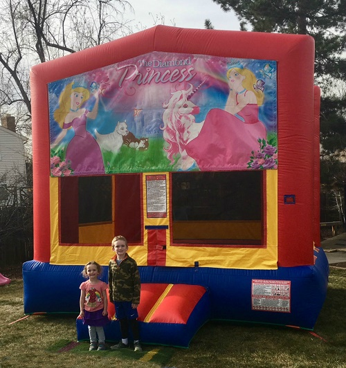 The Big House Bounce House with Happy Birthday Theme