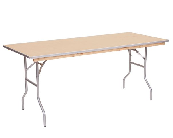6ft Rectangle Wooden Folding Table