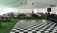 Black and White Checkered Dance Floor Installed