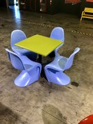 Table/Blue Chairs Set