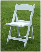 White Resin Folding Chair Wood (padded)