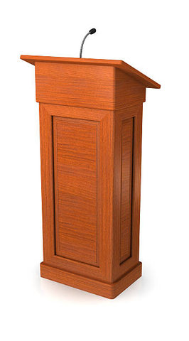 Wooden Podium with Mic Amp