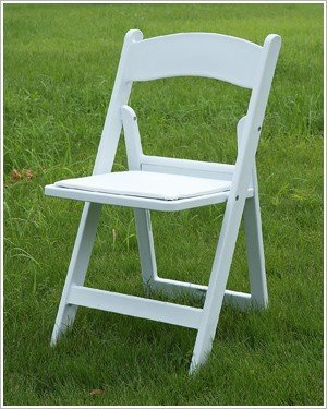 White Resin Folding Chair Wood padded