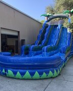 24' Tall double lane waterfall slide with pool.