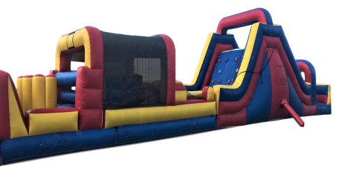 Inflatable - Obstacle Course - 60' with Rock Climbing Wall and 18'H Slide