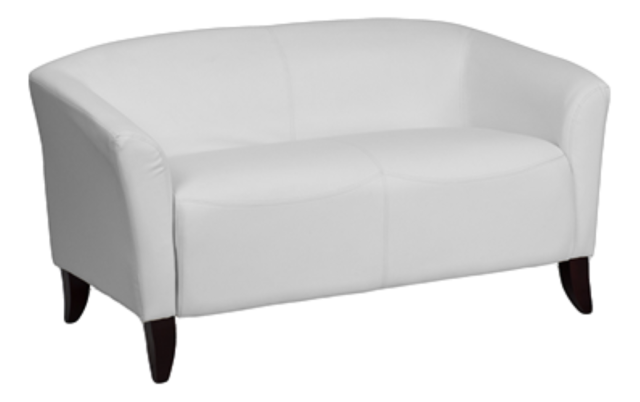 Chairs - White Leather Love Seat