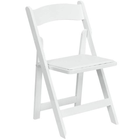 Chairs - White Padded Folding Chair