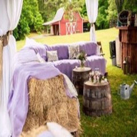 Wedding - Farm - Outdoor - Hay Bale Seating - add Quilts