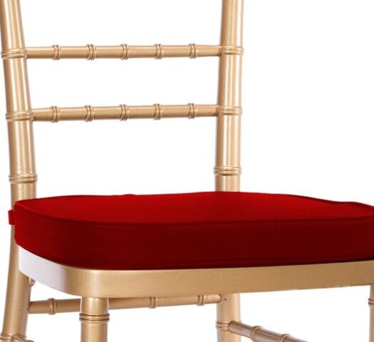 Chairs - Chiavari Tan Chair with Red Cushions