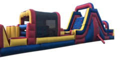 Inflatable - 60'L Obstacle Course With Rock Climbing Wall & 18'H Slide